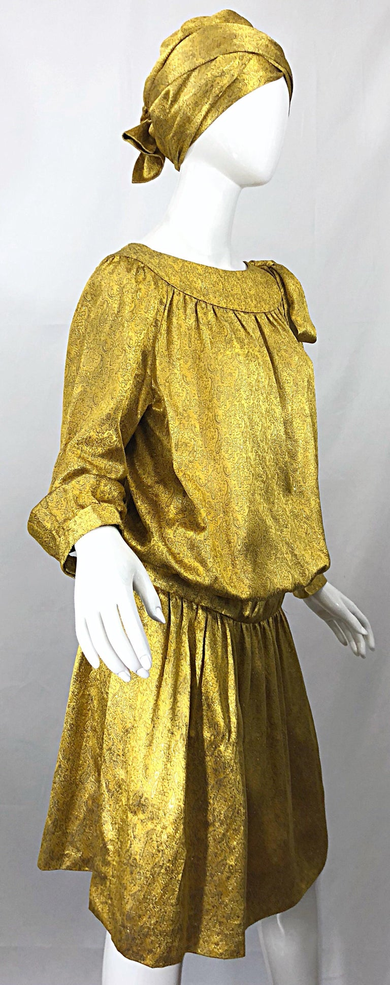 Vintage Brioni Yellow + Gold Silk 1920s Style Drop Waist Dress + Turban Sash For Sale 1