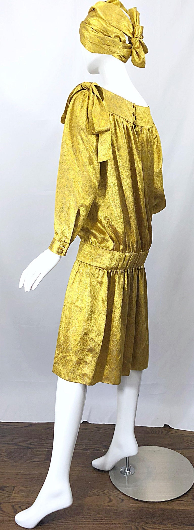 Vintage Brioni Yellow + Gold Silk 1920s Style Drop Waist Dress + Turban Sash For Sale 3