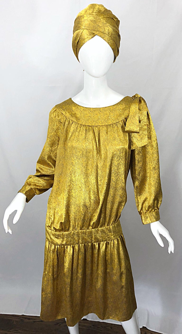 Vintage Brioni Yellow + Gold Silk 1920s Style Drop Waist Dress + Turban Sash For Sale 4