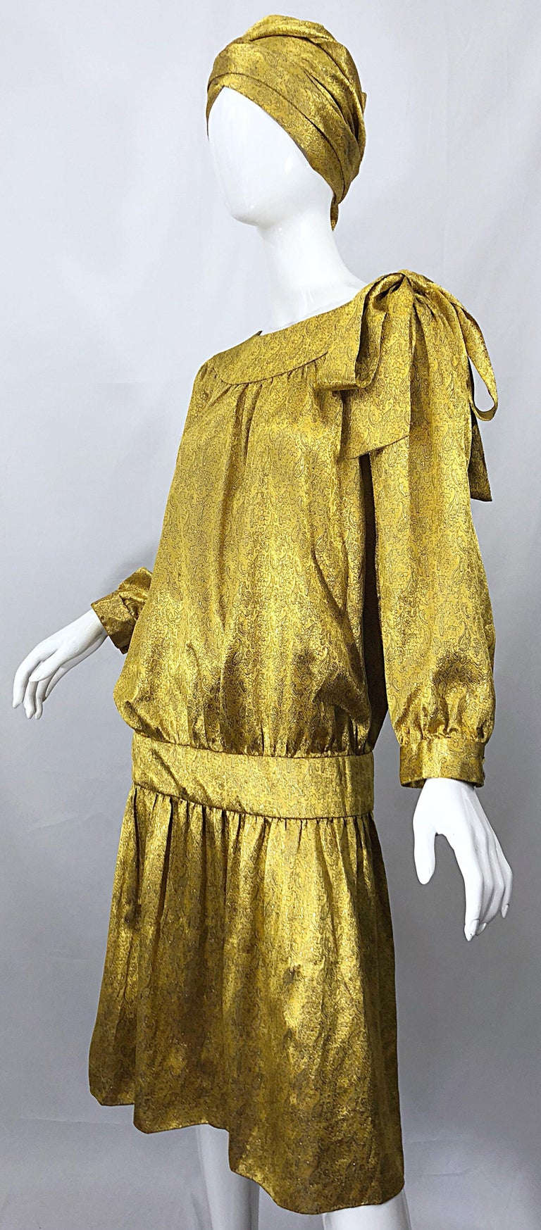 Vintage Brioni Yellow + Gold Silk 1920s Style Drop Waist Dress + Turban Sash For Sale 5