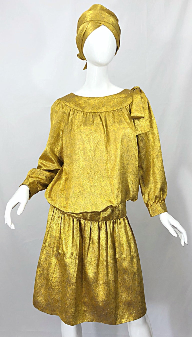 Vintage Brioni Yellow + Gold Silk 1920s Style Drop Waist Dress + Turban Sash For Sale 6