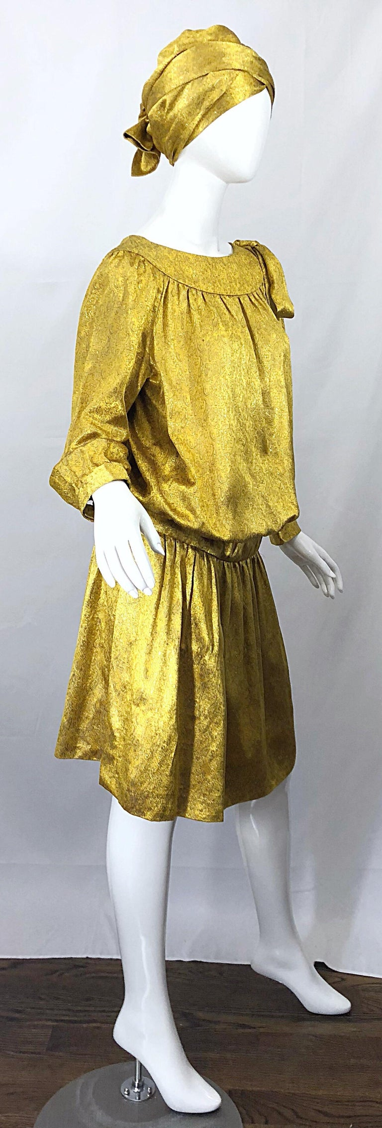 Vintage Brioni Yellow + Gold Silk 1920s Style Drop Waist Dress + Turban Sash For Sale 7