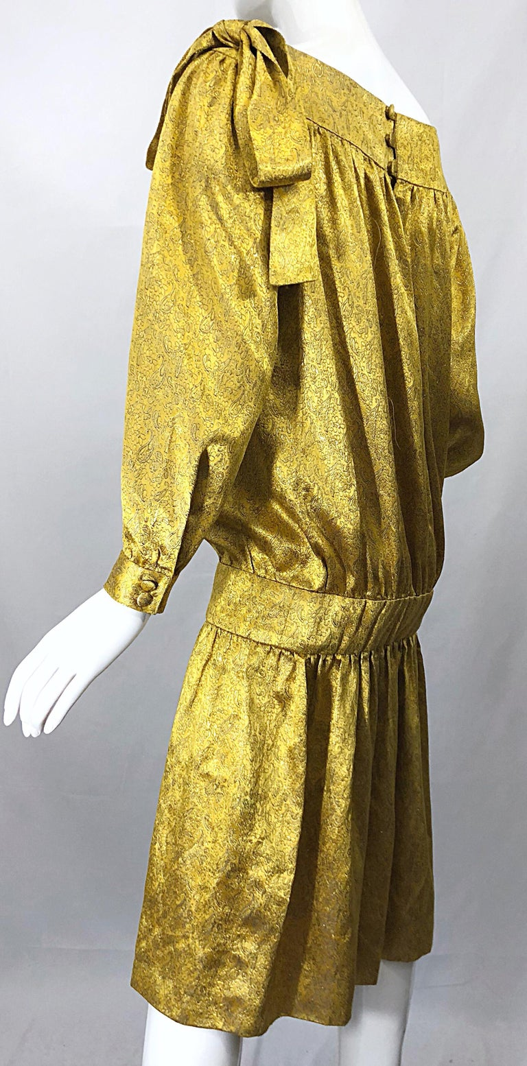 Vintage Brioni Yellow + Gold Silk 1920s Style Drop Waist Dress + Turban Sash For Sale 8