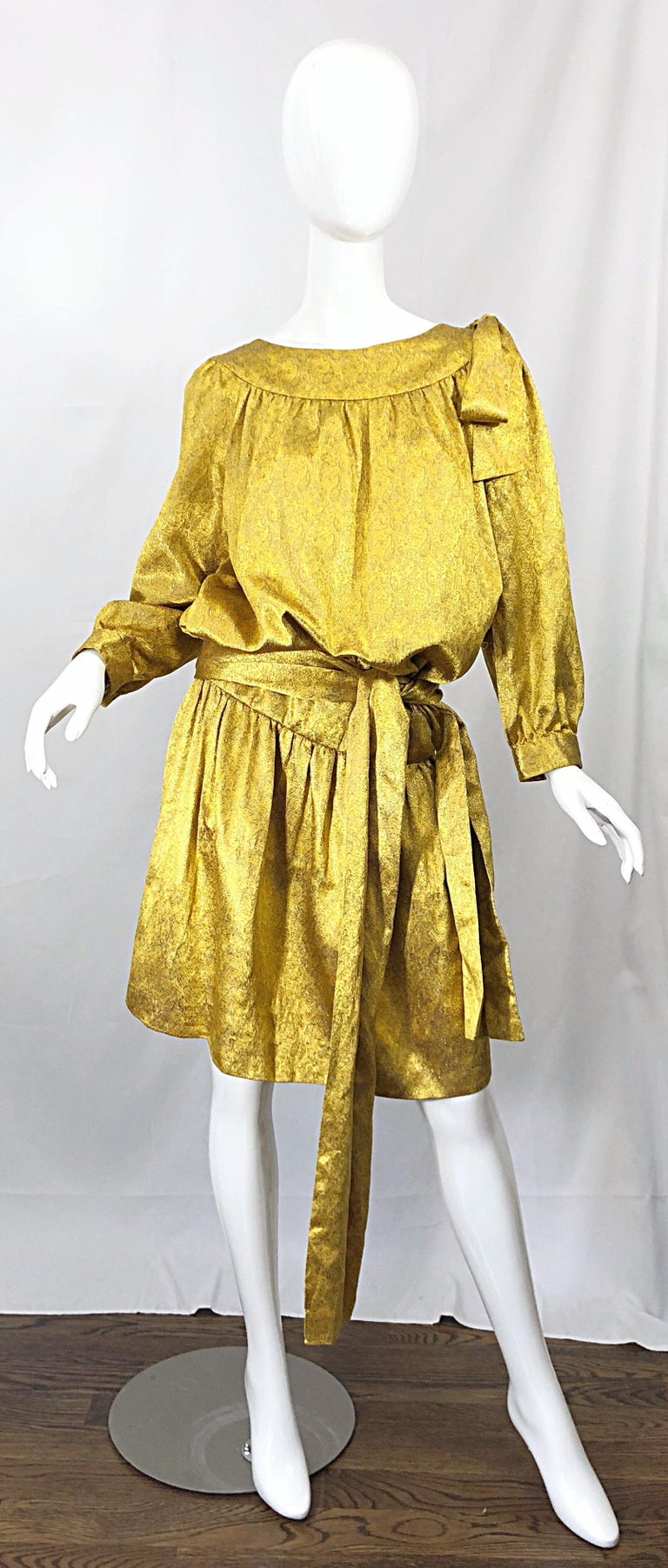 Vintage Brioni Yellow + Gold Silk 1920s Style Drop Waist Dress + Turban Sash For Sale 9