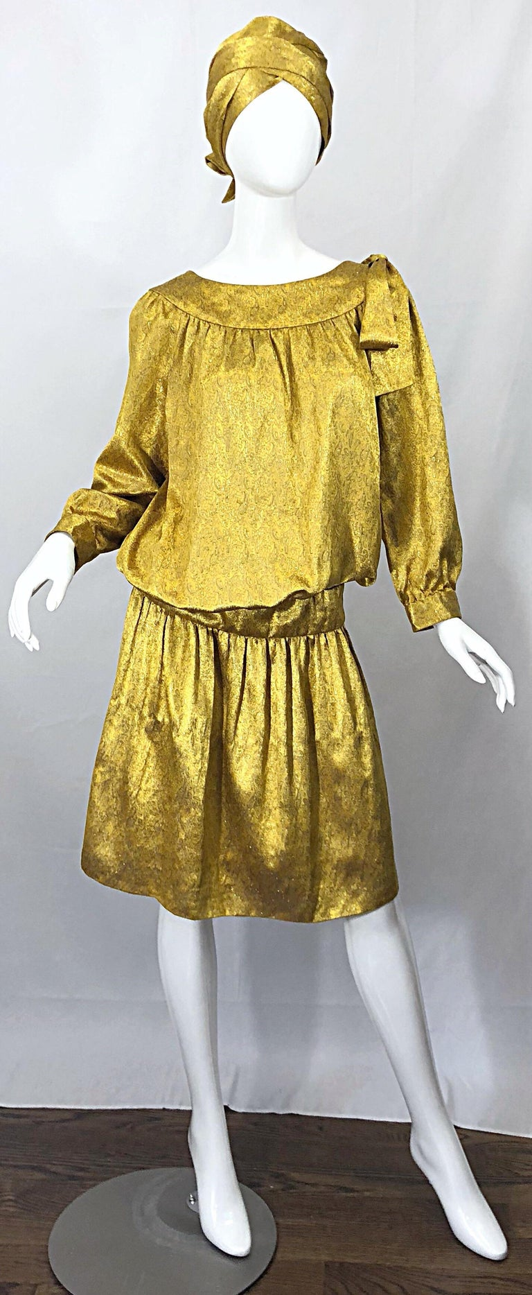 Vintage Brioni Yellow + Gold Silk 1920s Style Drop Waist Dress + Turban Sash For Sale 10