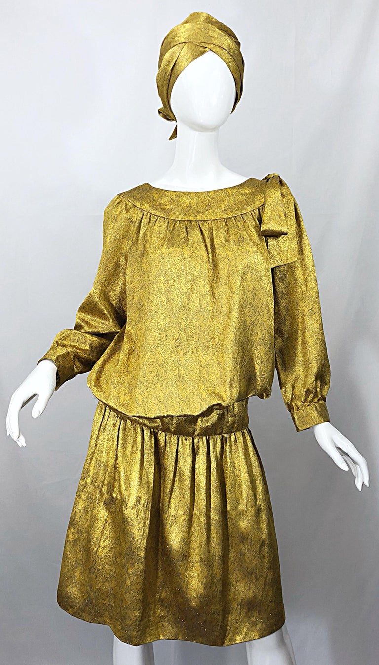 Vintage Brioni Yellow + Gold Silk 1920s Style Drop Waist Dress + Turban Sash For Sale 11