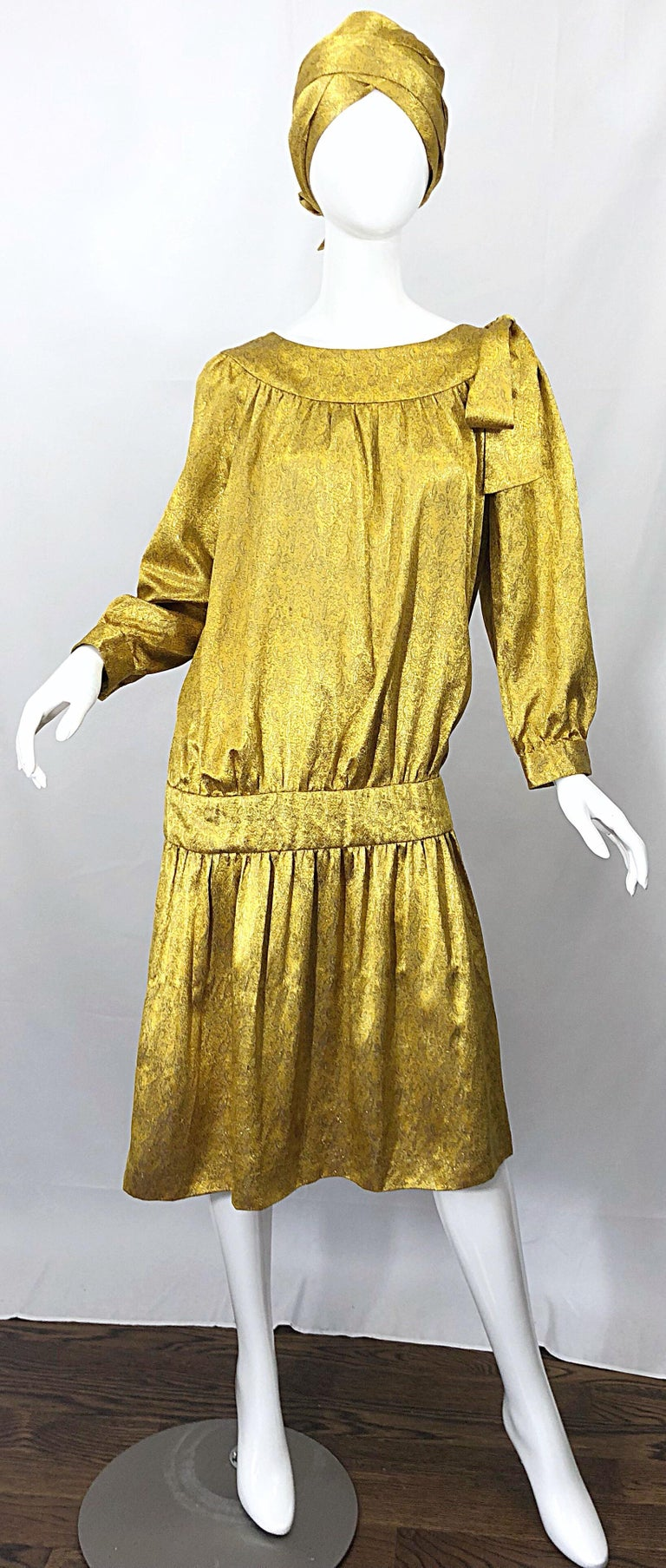 Vintage Brioni Yellow + Gold Silk 1920s Style Drop Waist Dress + Turban Sash For Sale 12