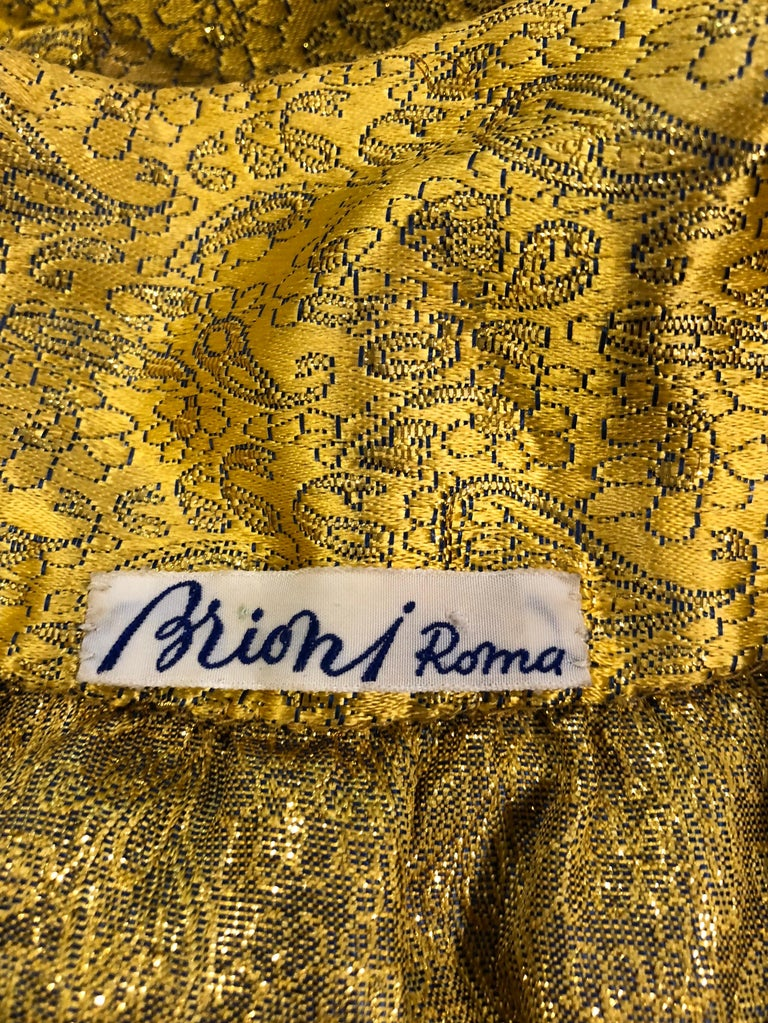 Vintage Brioni Yellow + Gold Silk 1920s Style Drop Waist Dress + Turban Sash For Sale 13