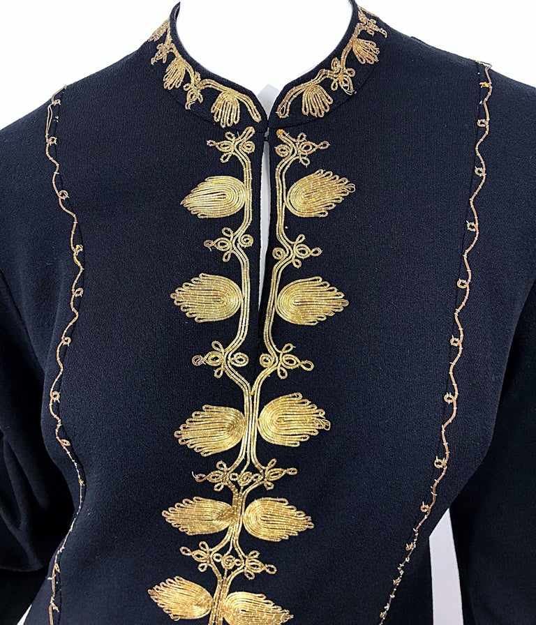 1970s Moroccan Black + Gold Metal Embroidered Vintage 70s Caftan Maxi Dress In Excellent Condition For Sale In Chicago, IL