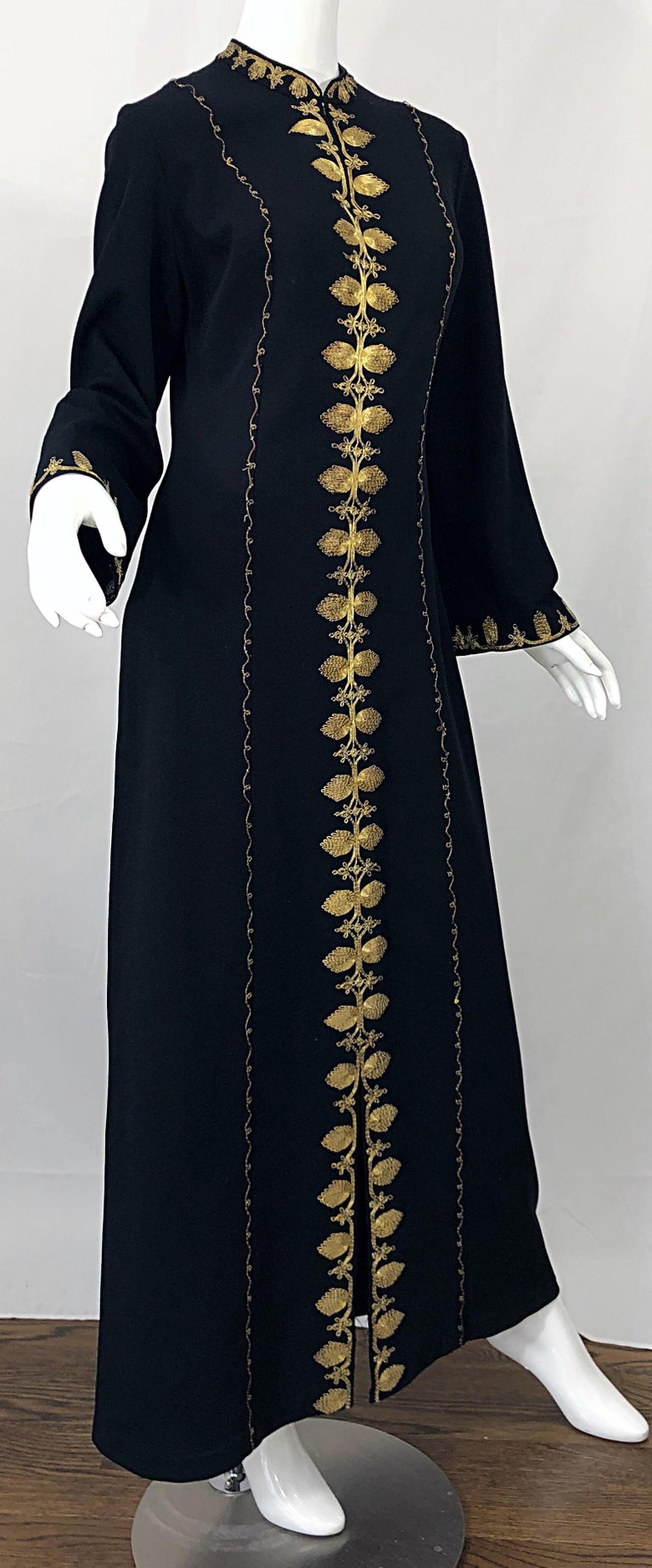1970s Moroccan Black + Gold Metal Embroidered Vintage 70s Caftan Maxi Dress For Sale 1