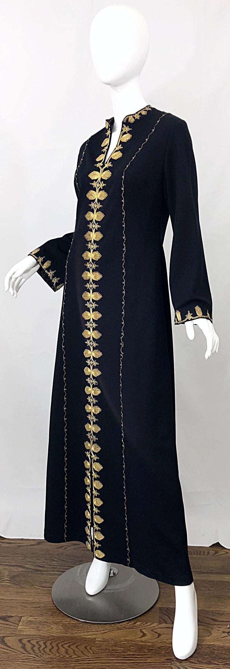 1970s Moroccan Black + Gold Metal Embroidered Vintage 70s Caftan Maxi Dress For Sale 3