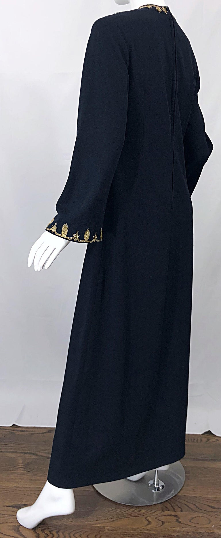 1970s Moroccan Black + Gold Metal Embroidered Vintage 70s Caftan Maxi Dress For Sale 4