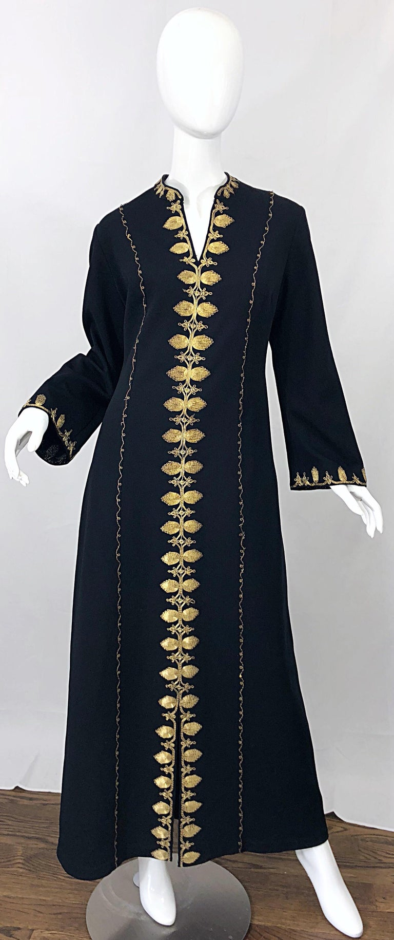1970s Moroccan Black + Gold Metal Embroidered Vintage 70s Caftan Maxi Dress For Sale 5