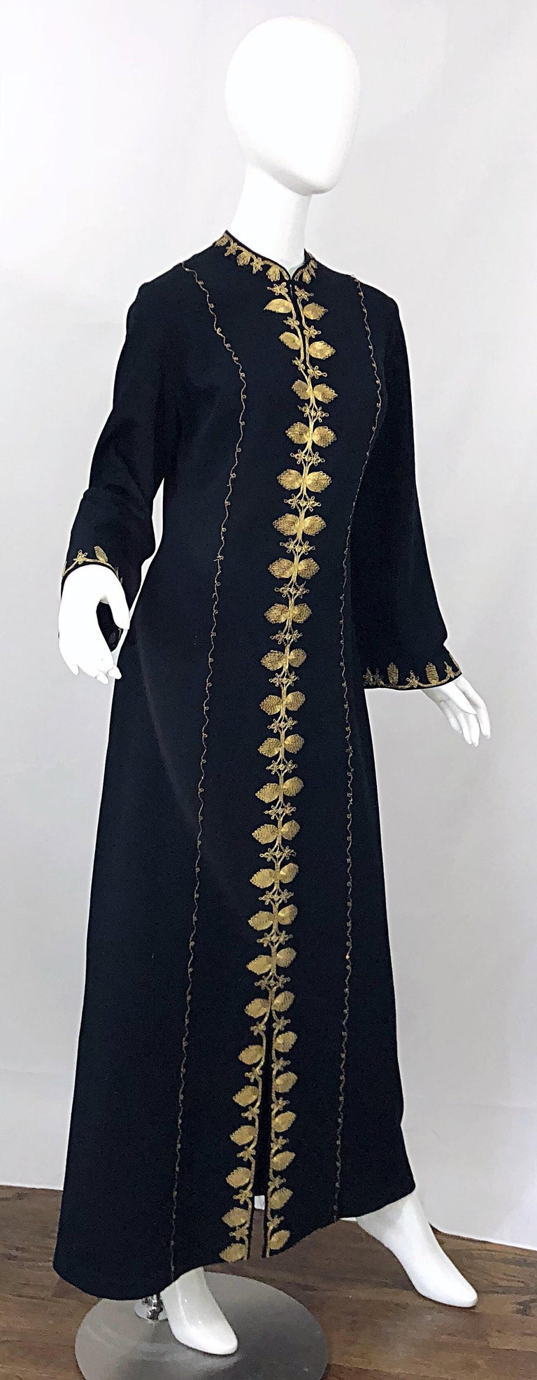 1970s Moroccan Black + Gold Metal Embroidered Vintage 70s Caftan Maxi Dress For Sale 7