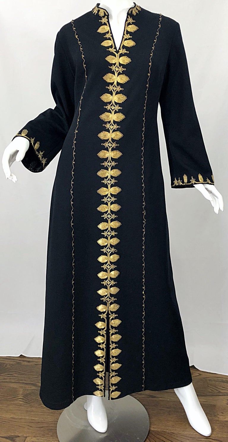 1970s Moroccan Black + Gold Metal Embroidered Vintage 70s Caftan Maxi Dress For Sale 9