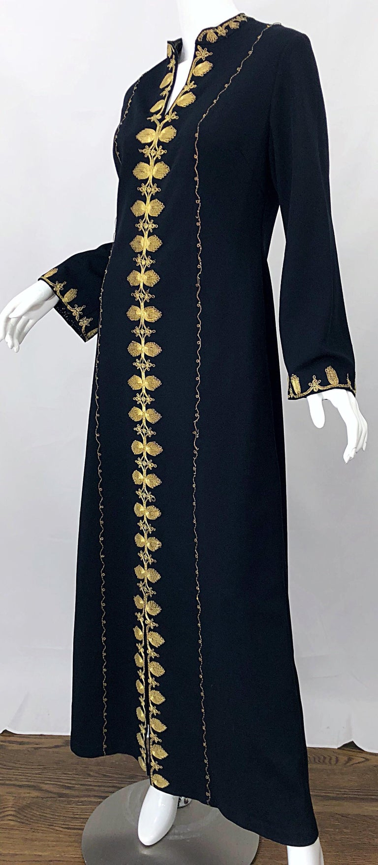 1970s Moroccan Black + Gold Metal Embroidered Vintage 70s Caftan Maxi Dress For Sale 10