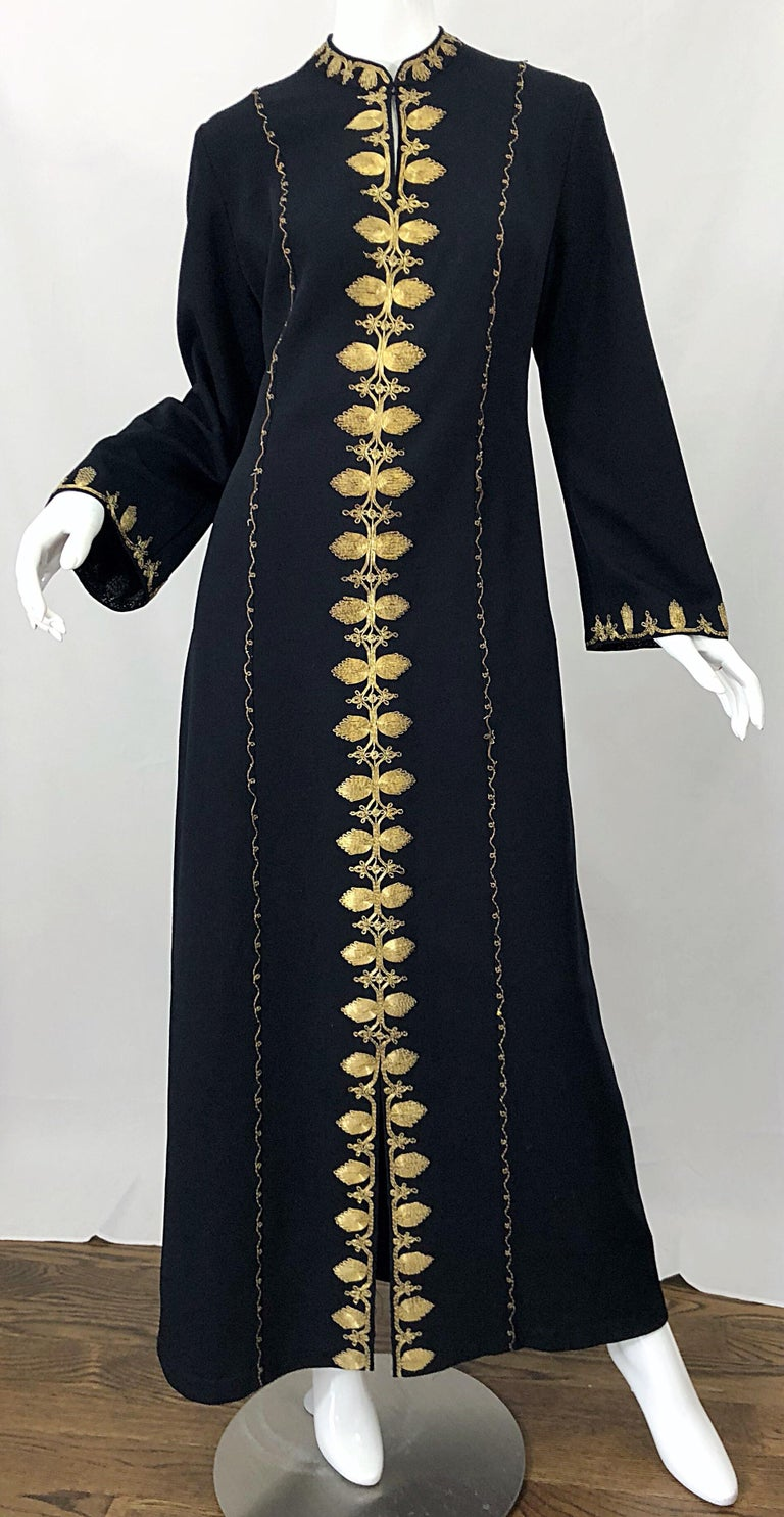 1970s Moroccan Black + Gold Metal Embroidered Vintage 70s Caftan Maxi Dress For Sale 11