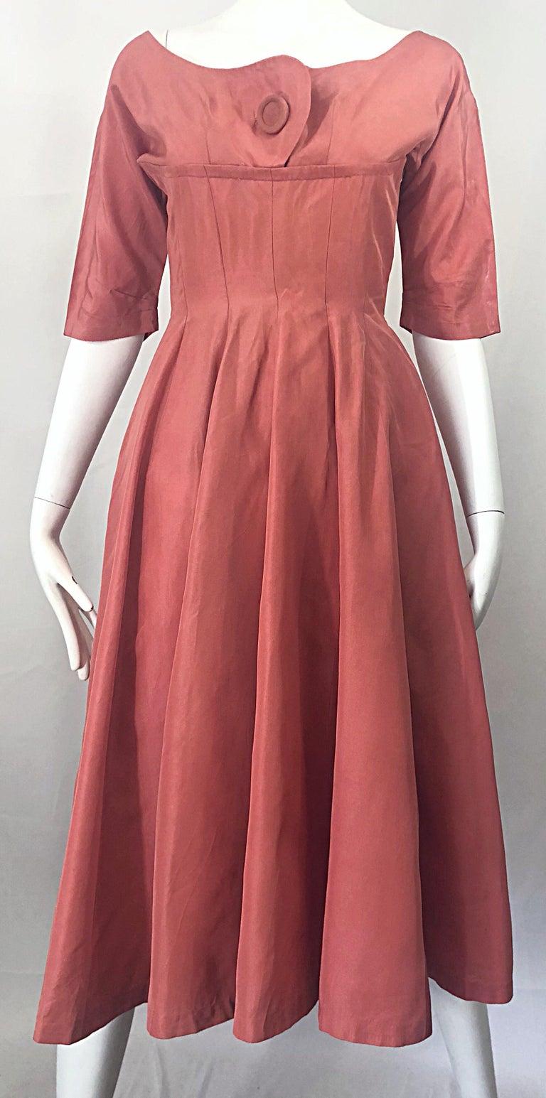 1950s Gigi Young Salmon Coral Pink Silk Taffeta Vintage