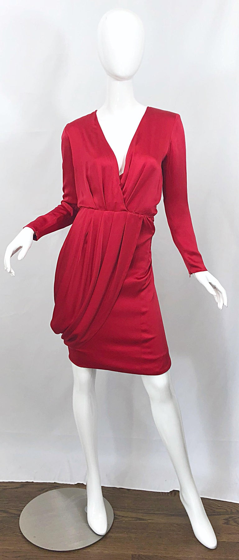 Remarkable and rare vintage GIVENCHY COUTURE, by ALEXANDER MCQUEEN lipstick red plunging cape dress! From the A/W 1998 collection. Sexy, yet not overly, this gem is extremely well made, with heavy attention to detail. Most of the workmanship was