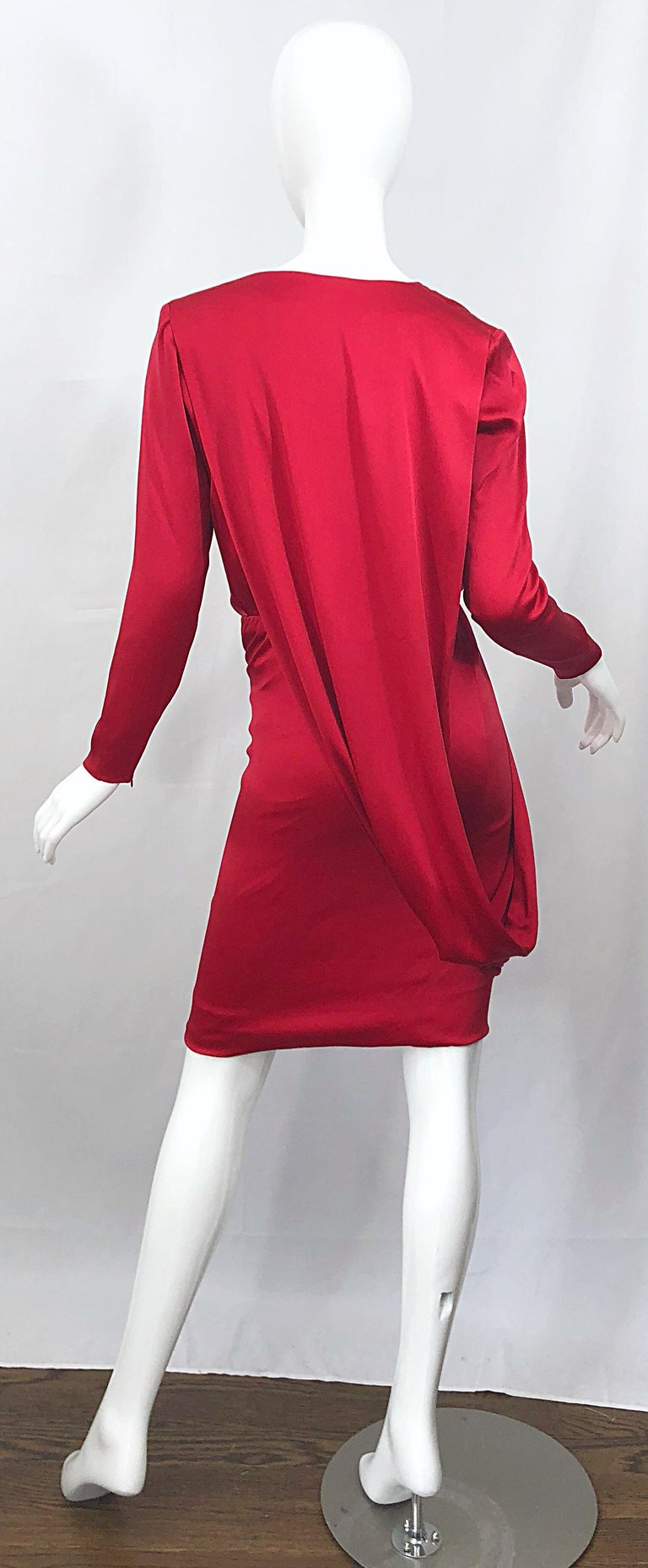 Vintage Givenchy Couture by Alexander McQueen Sz 36 Lipstick Red Silk Cape Dress In Excellent Condition For Sale In Chicago, IL