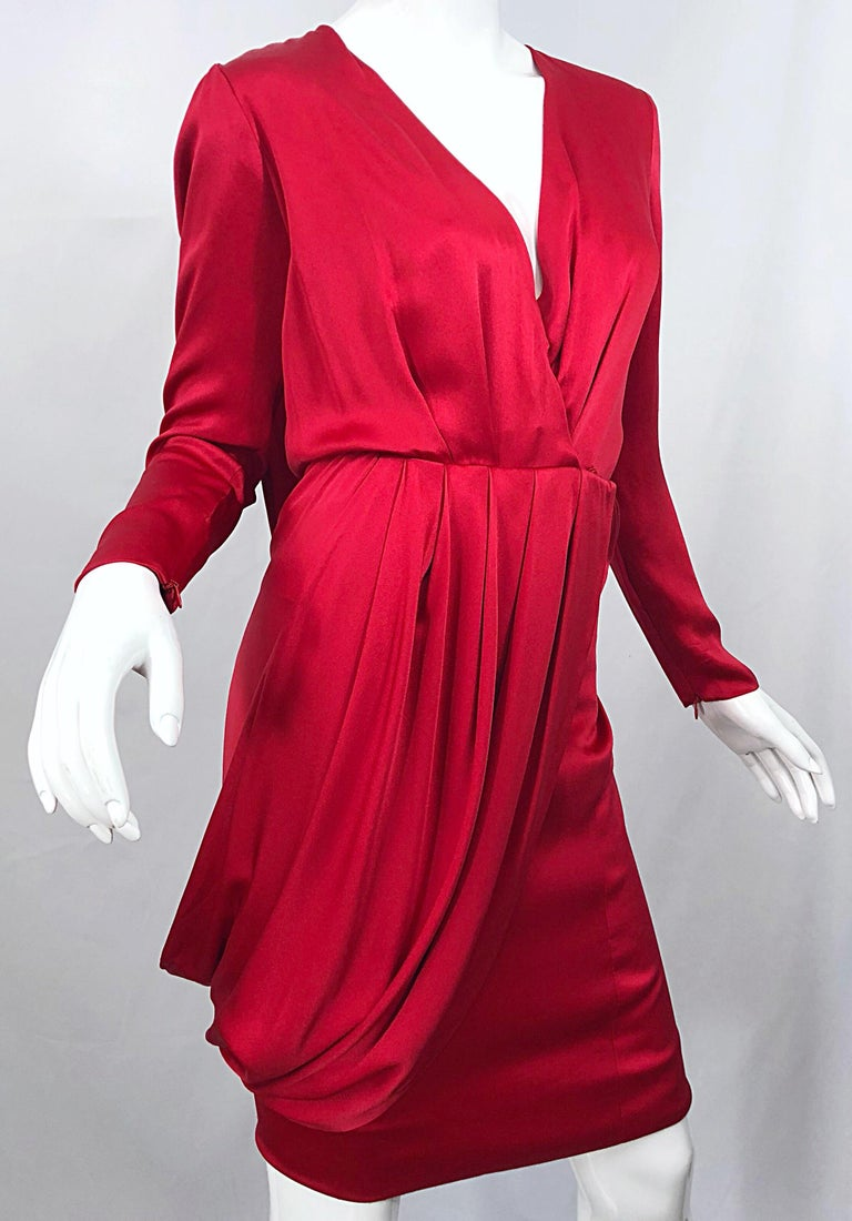 Women's Vintage Givenchy Couture by Alexander McQueen Sz 36 Lipstick Red Silk Cape Dress For Sale