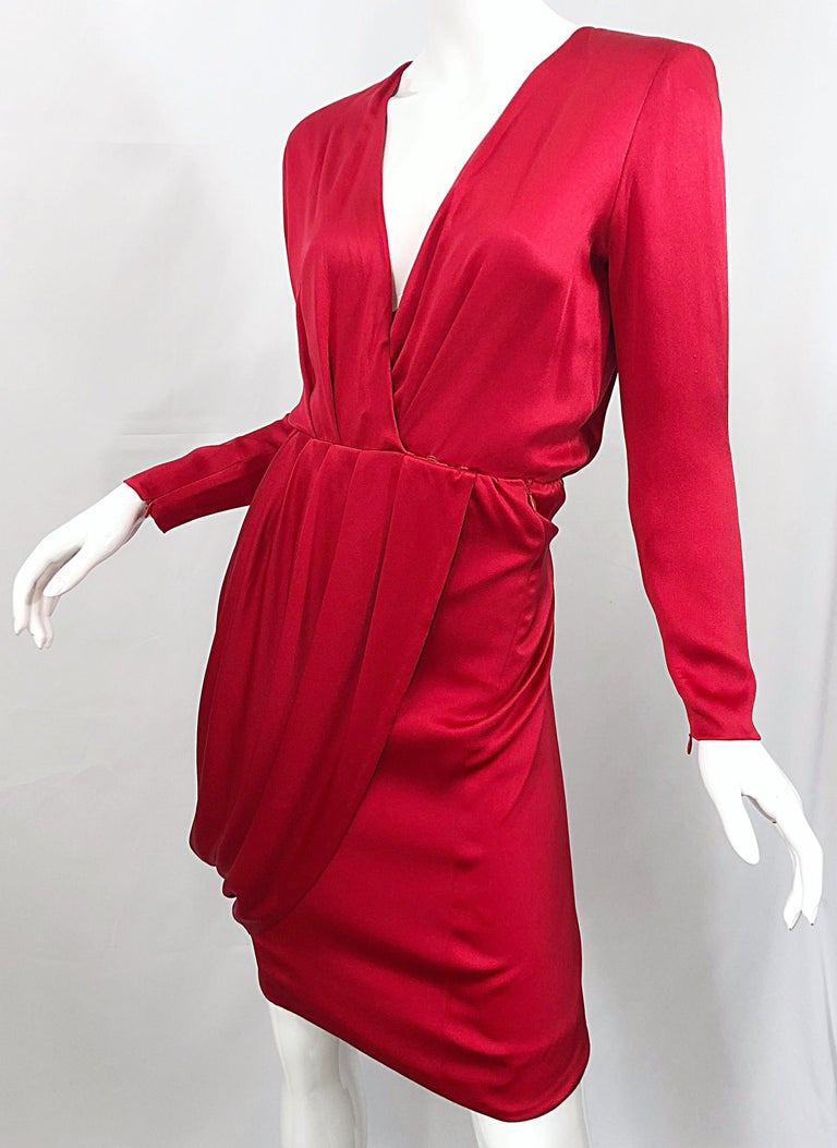 Vintage Givenchy Couture by Alexander McQueen Sz 36 Lipstick Red Silk Cape Dress For Sale 1