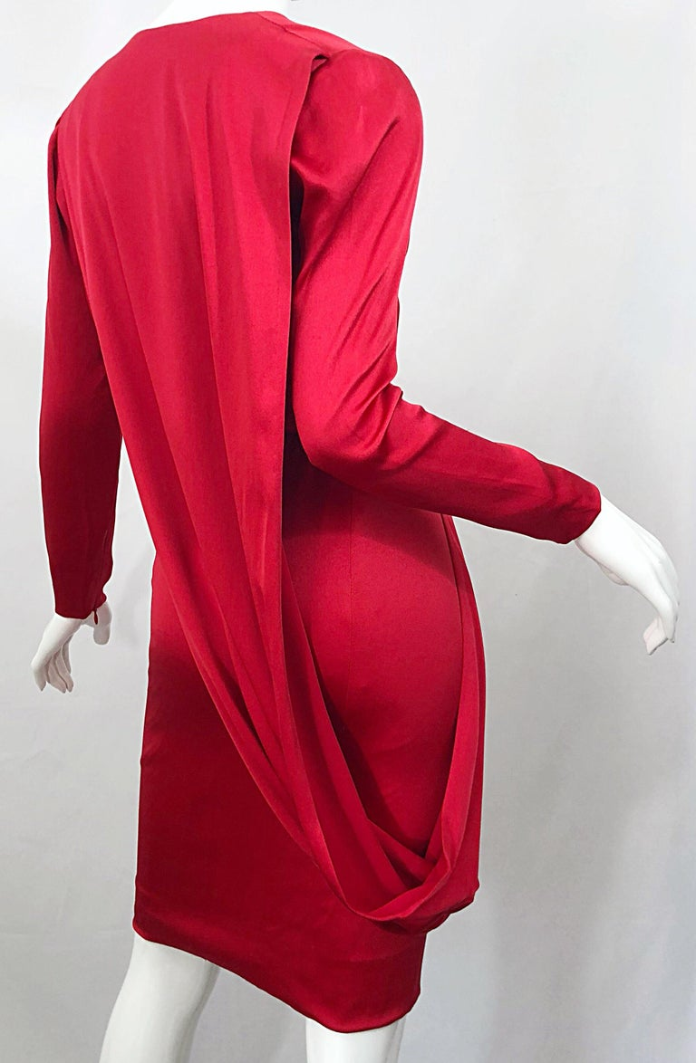 Vintage Givenchy Couture by Alexander McQueen Sz 36 Lipstick Red Silk Cape Dress For Sale 2