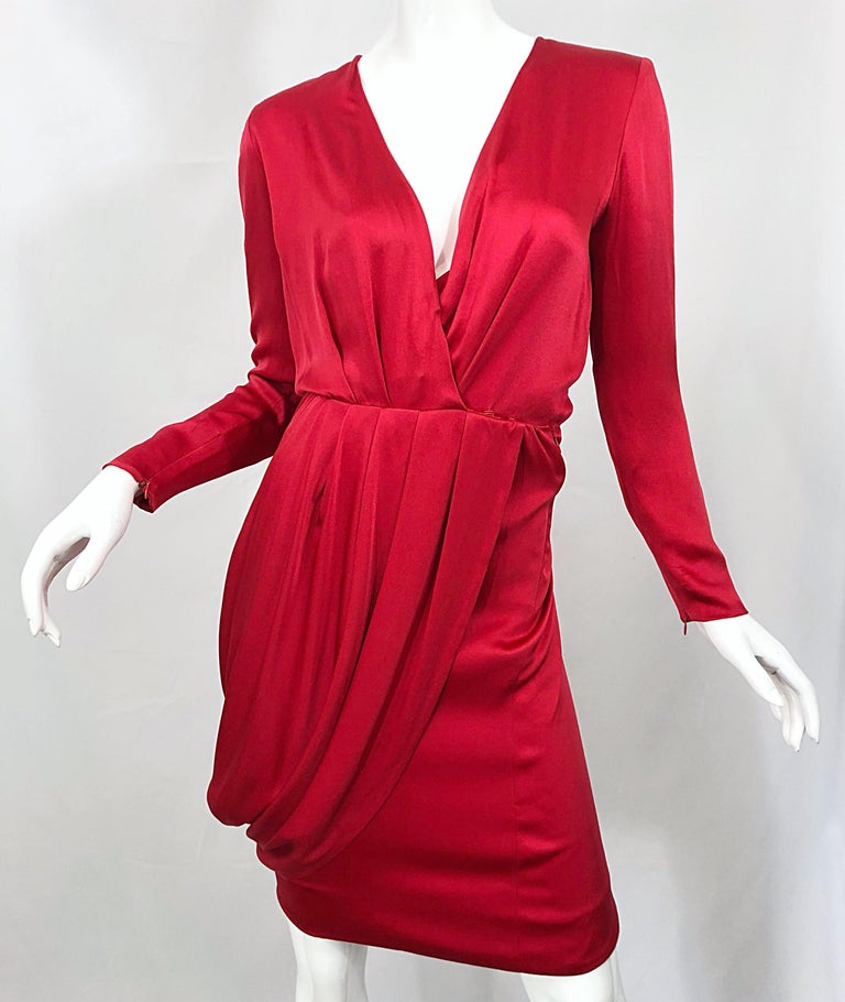 Vintage Givenchy Couture by Alexander McQueen Sz 36 Lipstick Red Silk Cape Dress For Sale 3