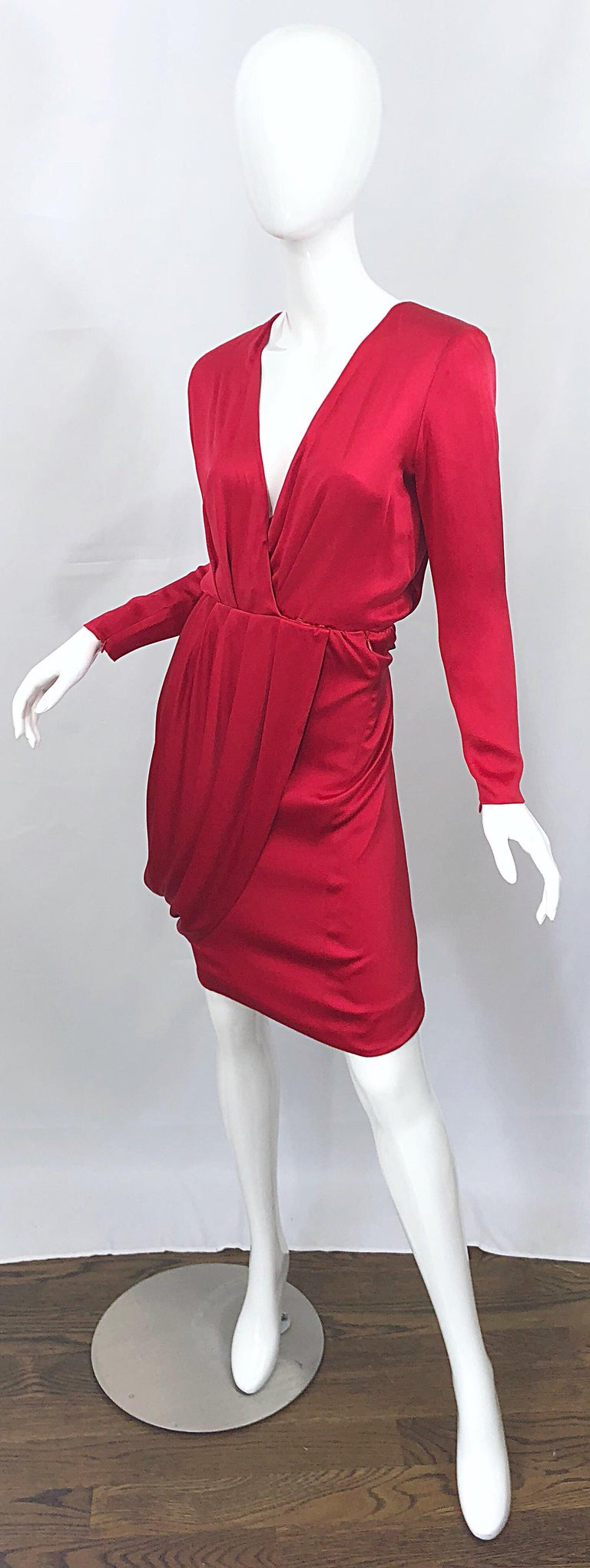 Vintage Givenchy Couture by Alexander McQueen Sz 36 Lipstick Red Silk Cape Dress For Sale 4