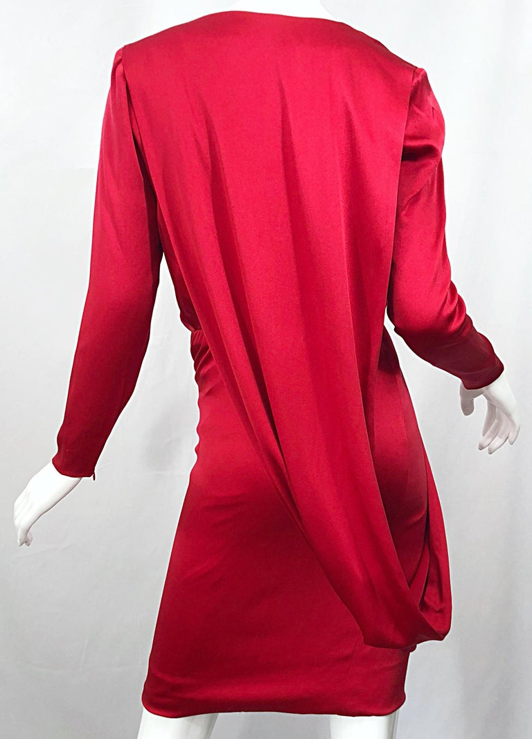 Vintage Givenchy Couture by Alexander McQueen Sz 36 Lipstick Red Silk Cape Dress For Sale 5