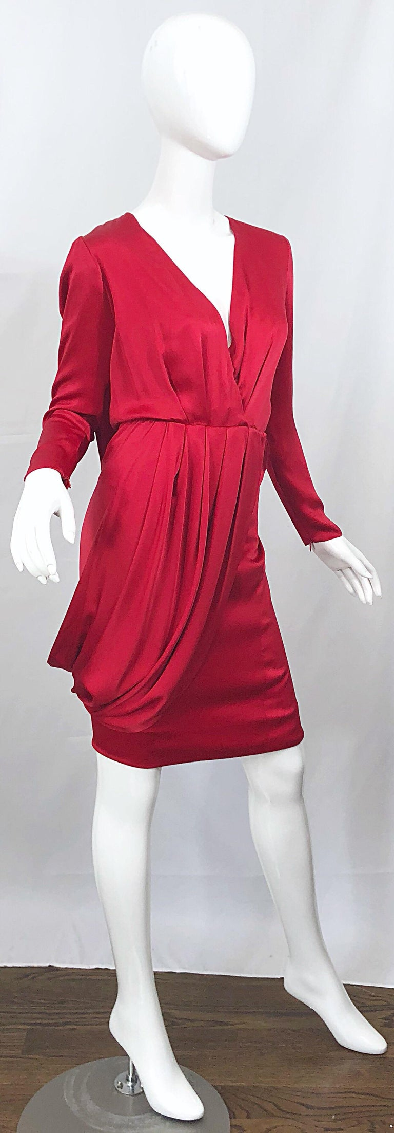 Vintage Givenchy Couture by Alexander McQueen Sz 36 Lipstick Red Silk Cape Dress For Sale 6