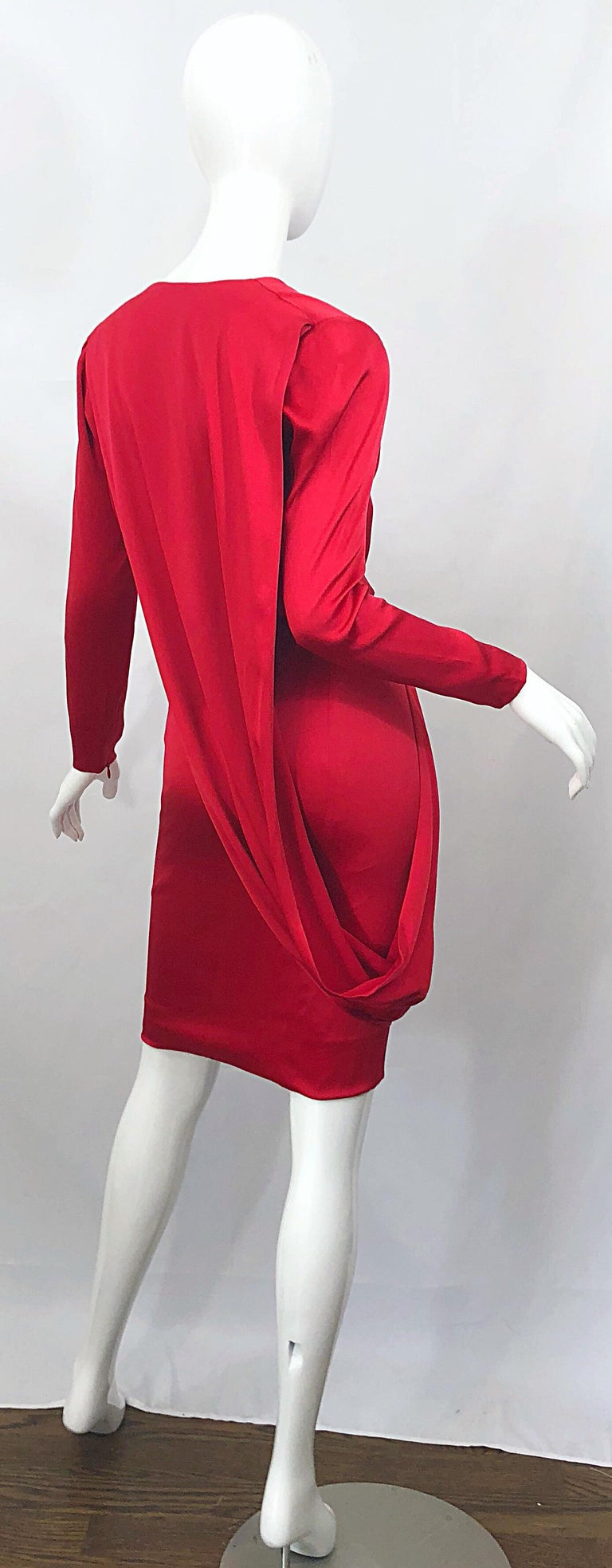 Vintage Givenchy Couture by Alexander McQueen Sz 36 Lipstick Red Silk Cape Dress For Sale 7