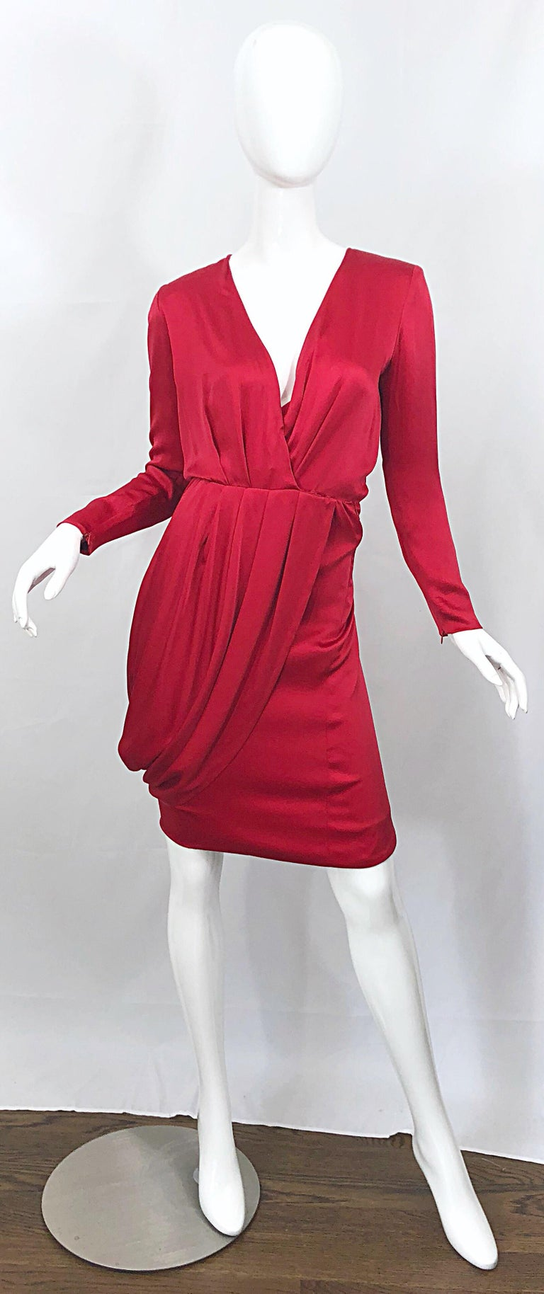 Vintage Givenchy Couture by Alexander McQueen Sz 36 Lipstick Red Silk Cape Dress For Sale 8