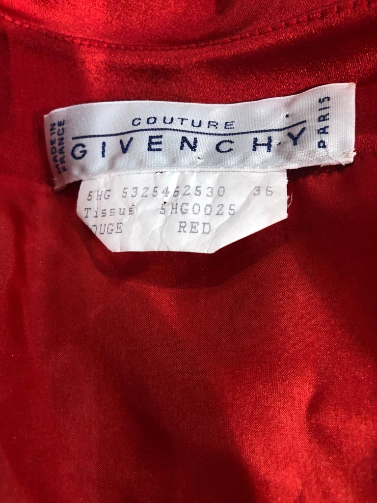 Vintage Givenchy Couture by Alexander McQueen Sz 36 Lipstick Red Silk Cape Dress For Sale 9