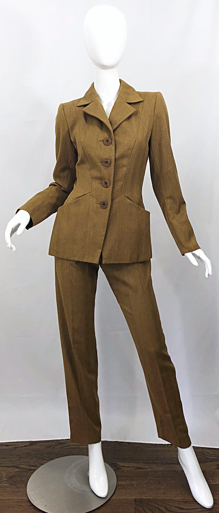 Vintage Yves Saint Laurent Size 36 Le Smoking Camel Brown Women's YSL Pant  Suit