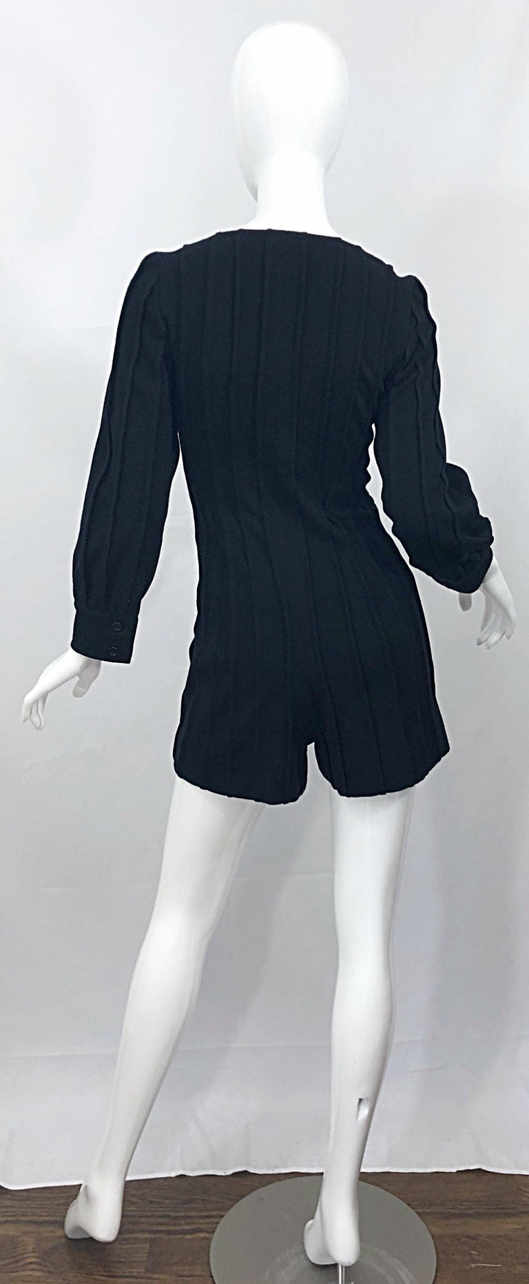 Women's Vintage Givenchy Haute Couture Black Wool Long Sleeve One Piece Romper Jumpsuit For Sale