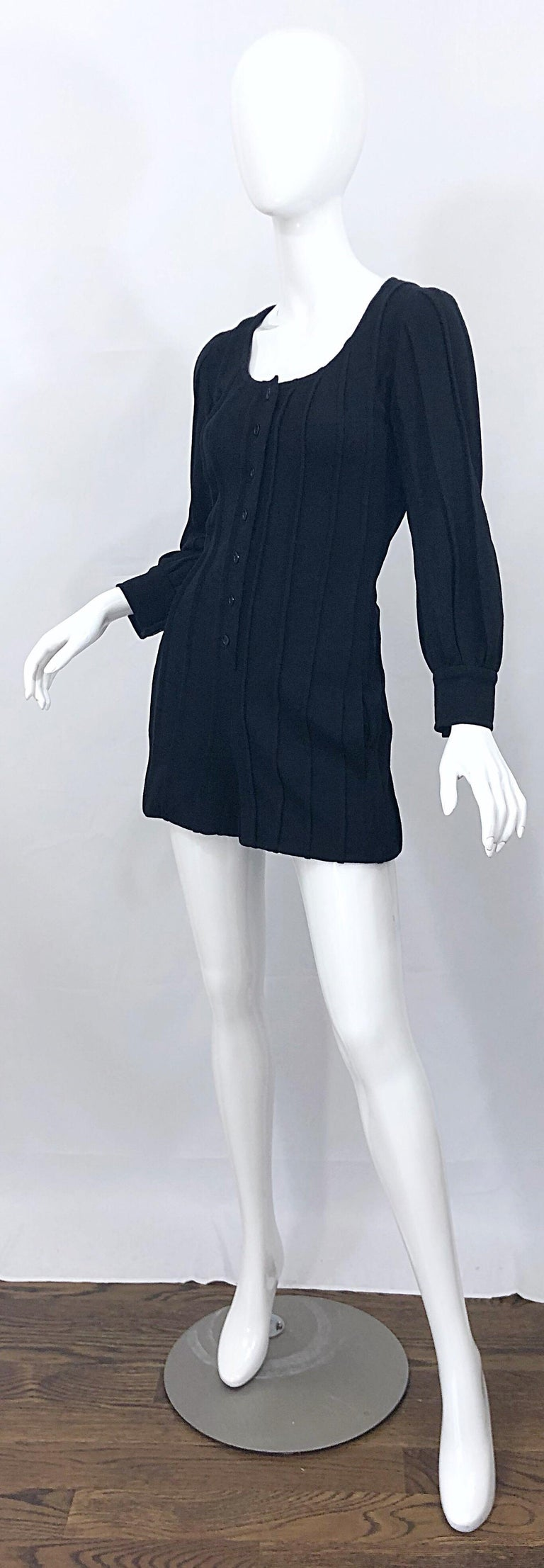Vintage Givenchy Haute Couture Black Wool Long Sleeve One Piece Romper Jumpsuit For Sale 1