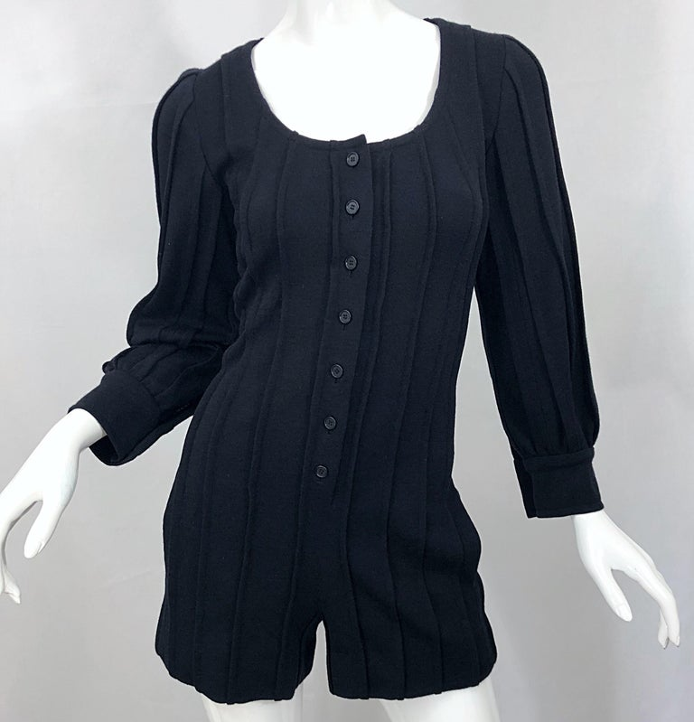 Vintage Givenchy Haute Couture Black Wool Long Sleeve One Piece Romper Jumpsuit For Sale 2