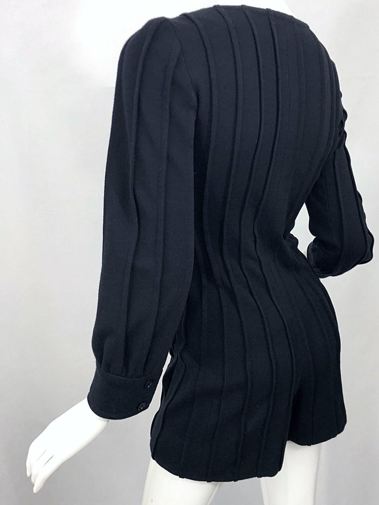 Vintage Givenchy Haute Couture Black Wool Long Sleeve One Piece Romper Jumpsuit For Sale 3