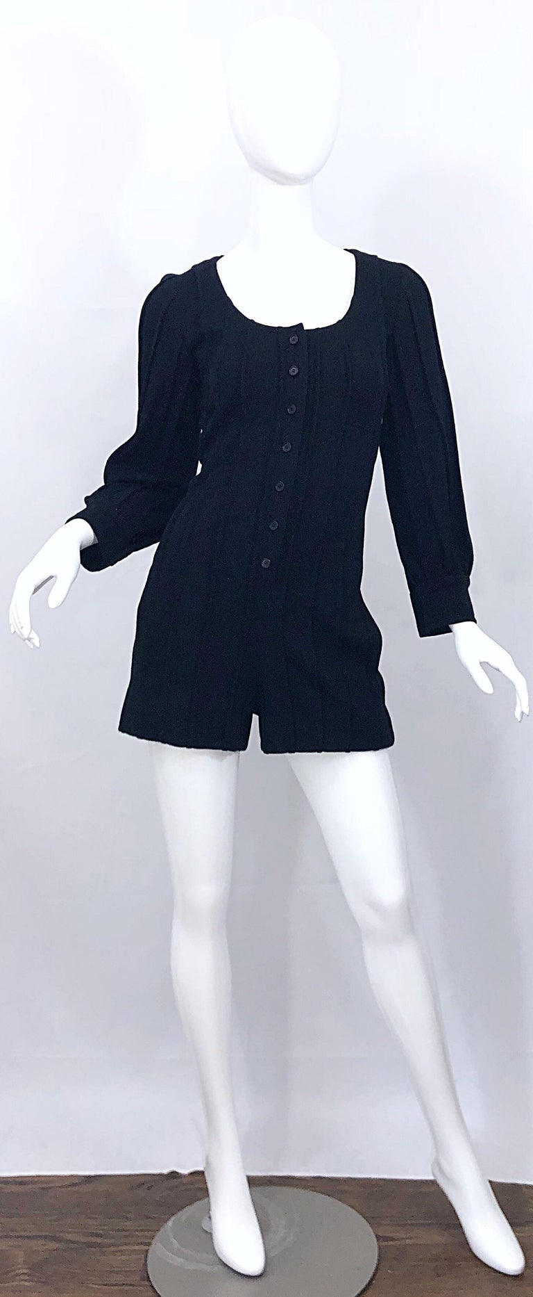 Vintage Givenchy Haute Couture Black Wool Long Sleeve One Piece Romper Jumpsuit For Sale 4