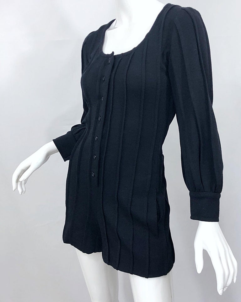 Vintage Givenchy Haute Couture Black Wool Long Sleeve One Piece Romper Jumpsuit For Sale 5