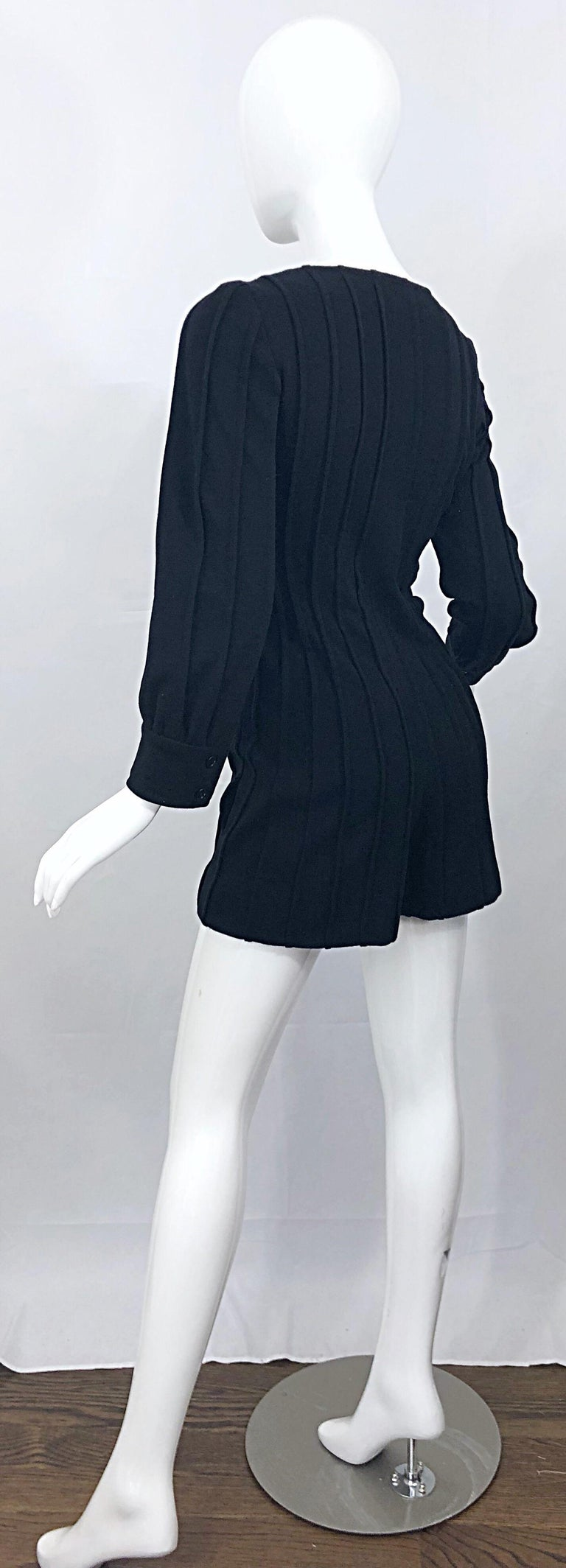 Vintage Givenchy Haute Couture Black Wool Long Sleeve One Piece Romper Jumpsuit For Sale 6