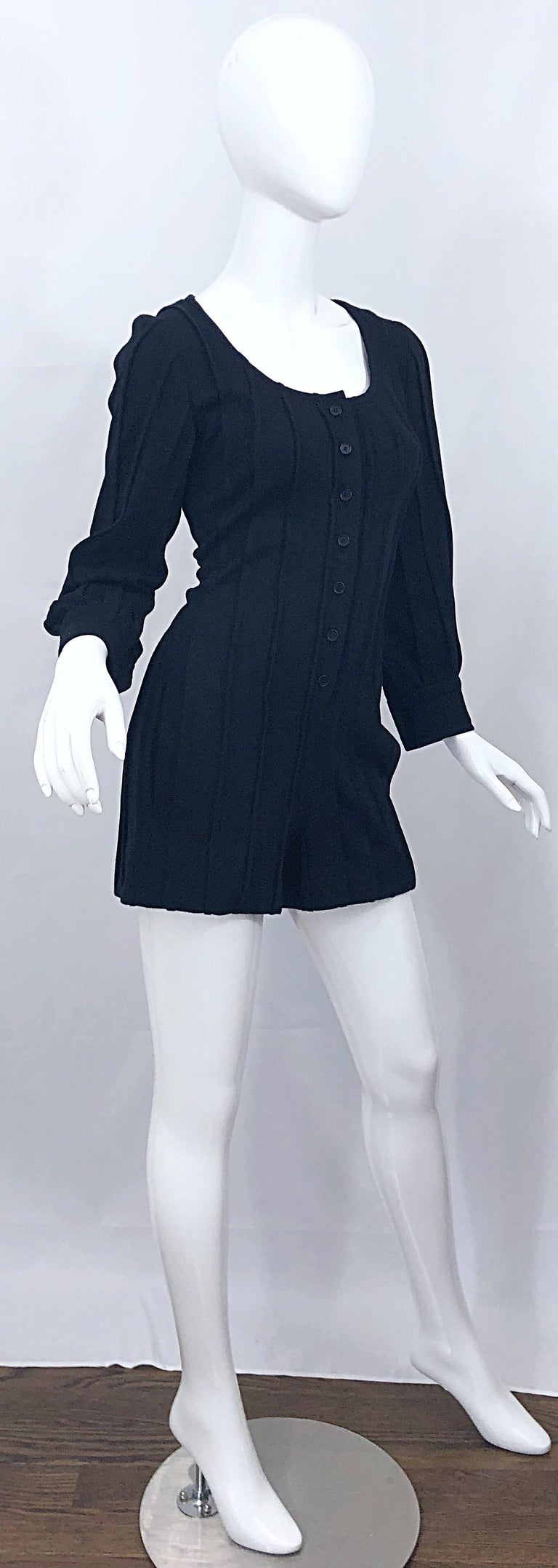 Vintage Givenchy Haute Couture Black Wool Long Sleeve One Piece Romper Jumpsuit For Sale 7