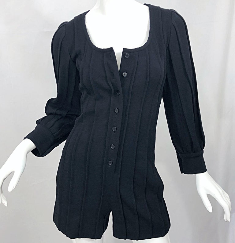 Vintage Givenchy Haute Couture Black Wool Long Sleeve One Piece Romper Jumpsuit For Sale 8