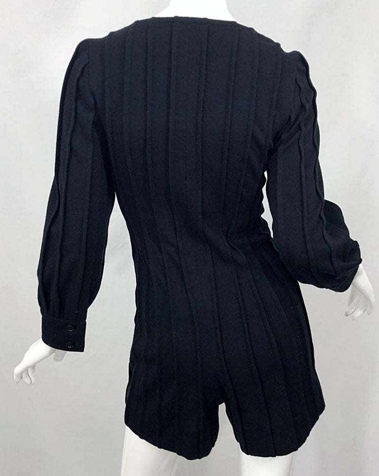 Vintage Givenchy Haute Couture Black Wool Long Sleeve One Piece Romper Jumpsuit For Sale 9