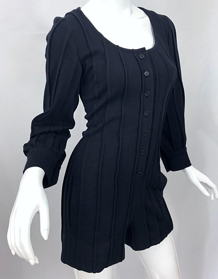 Vintage Givenchy Haute Couture Black Wool Long Sleeve One Piece Romper Jumpsuit For Sale 10