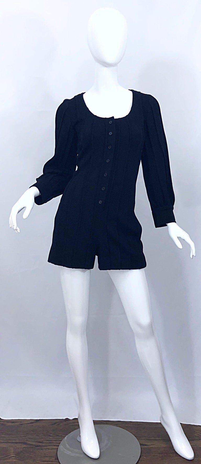 Vintage Givenchy Haute Couture Black Wool Long Sleeve One Piece Romper Jumpsuit For Sale 11