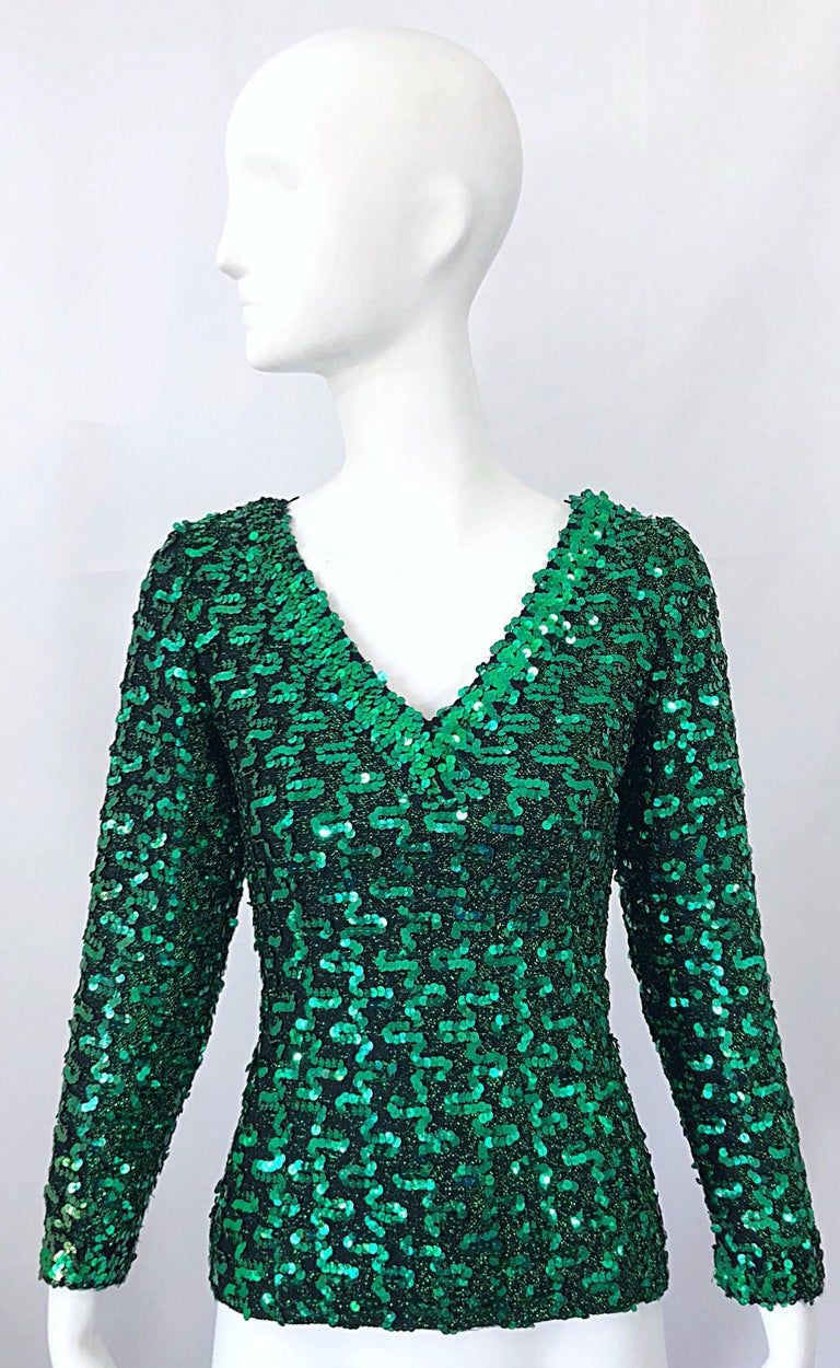 05109409c03b ... Knit Shirt Blouse For Sale. Beautiful, and just in time for the  holidays! Vintage 70s LILLI DIAMOND kelly green