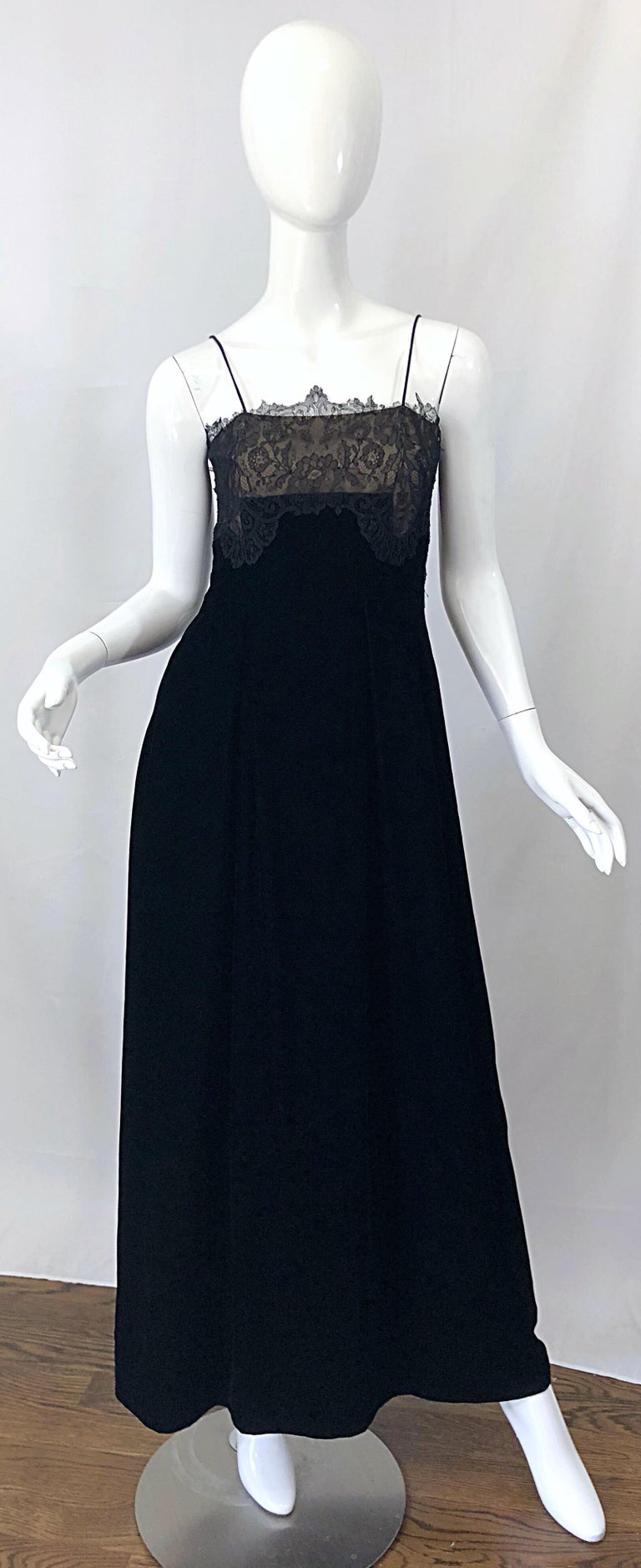 Beautiful late 70s RICHILENE for NEIMAN MARCUS black silk velvet and nude lace chiffon full length evening dress! Couture quality was my first impression upon inspecting this beauty. Inner boned bodice keeps everything in place. Luxurious black silk