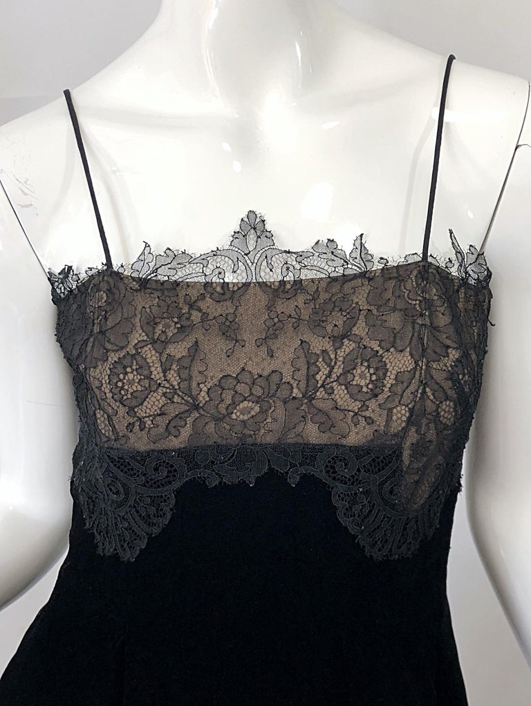 Beautiful Vintage Richilene 1970s Blacks Silk Velvet + Nude Lace Chiffon Gown In Excellent Condition For Sale In Chicago, IL